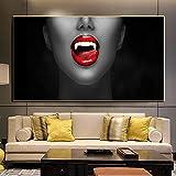 Imagen de Impresiones de Labios Rojos Simples Póster nórdico Moderno Pintura en Lienzo Imágenes artísticas de Pared Sala de Estar Decoración del hogar 80x160cm / 31.5'x62.9 Sin Marco