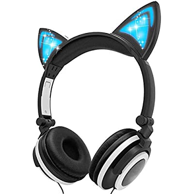 Amazon - Save 70%: Ifecco Kids Headphones with LED Glowing Cat Ears, Safe Wired Kids Headsets…