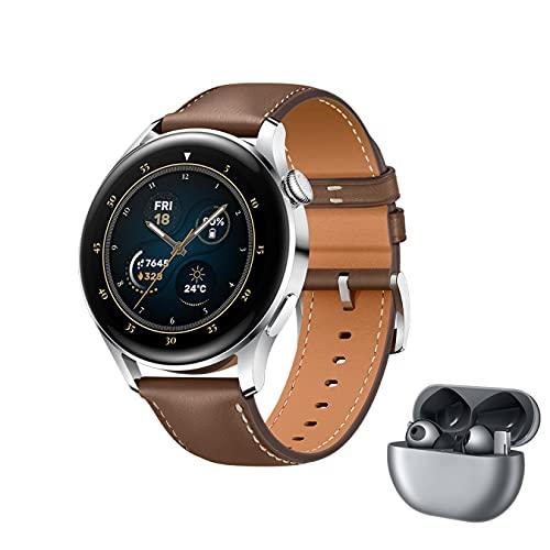 HUAWEI WATCH 3 - 4G Smartwatch, 1.43'' AMOLED Display, eSIM Telefonie, 3 Tage Akkulaufzeit, 30 Monate Garantie, braunes Lederarmband,inklusive FreeBuds Pro