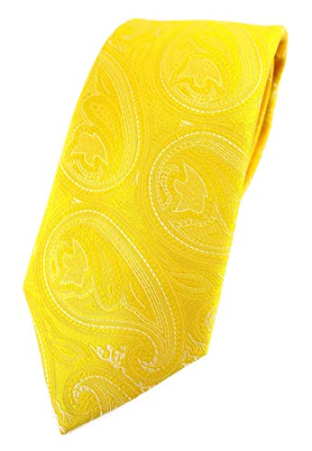 TigerTie Corbata de diseño en patrón de cachemira, corte clásico., amarillo limón y plateado., Talla única