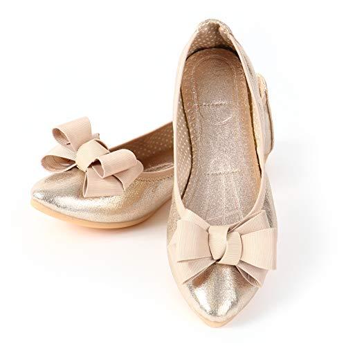 [LASSE MOA] 携帯スリッパ レディース 折りたたみシューズ 折りたたみ パンプス バレエシューズ 歩きやすい 軽量 ぺたんこ フラット シューズ 婦人靴 (ゴールド, 23.5cm)