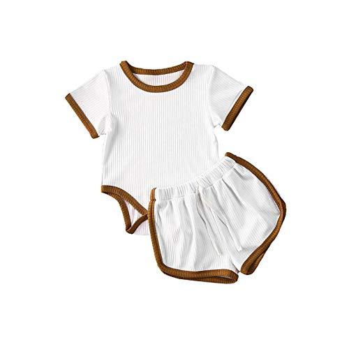 Hailouhai Conjunto de 2 piezas de ropa de verano para recién nacido, bebé, niña, niño, de punto acanalado, de algodón, de manga corta, pelele, tops y pantalones cortos. Blanco 18-24 Meses
