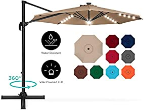 Best Choice Products 10ft 360-Degree LED Cantilever Offset Hanging Market Patio Umbrella w/Easy Tilt - Tan