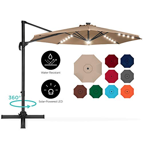 Best Choice Products 10ft 360-Degree LED Cantilever Offset Hanging Market Patio Umbrella w/Easy Tilt...
