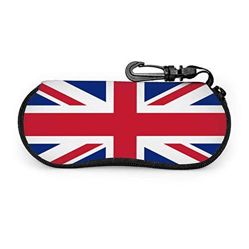 Ascfeagh Uk British Flag Cremallera Shell Gafas de sol Estuche/Estuches para gafas Unisex Durable Portátil Ligero 17x8cm