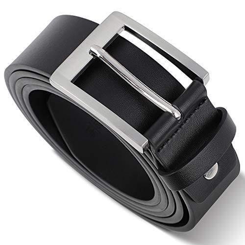 TANGCHAO Cinturón de Cuero Hombre Cinturón de jeans para Hombre Genuino Cinturón Negro 38 mm Nero 135CM