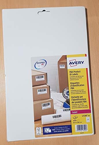 Avery L7230 Selbstklebende Amazon FBA Barcode-Etiketten, Laserdrucker, 21 Etiketten pro A4-Blatt, 1050 Etiketten