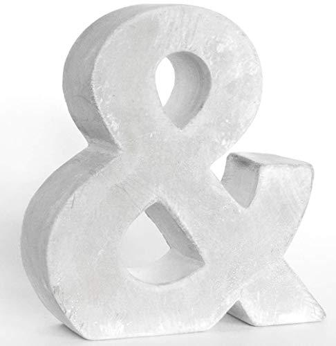 Zement Beton & Deko Buchstaben Dekobuchstabe Farbtherapie fuer Lichterkette Tisch Deko Kinderzimmer Stimmungslicht (Beton Symbol &, 15 cm)