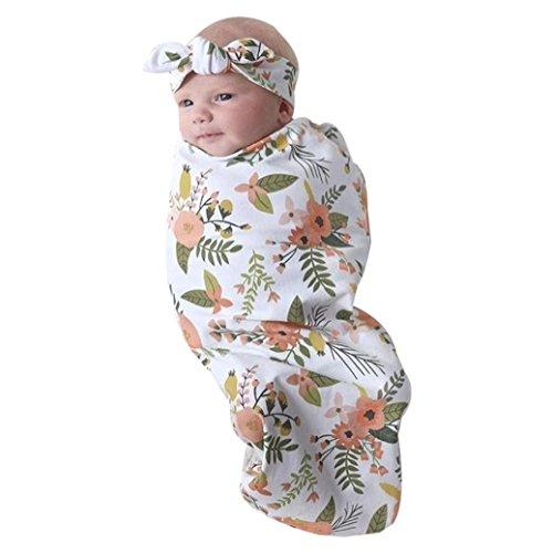 Dreamyth Newborn Infant Little Baby Swaddle Blanket Sleeping Swaddle Muslin Wrap Headband Set
