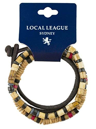 Local League SURF CREW HAWAII Herren Leder Perlen-Armband - Einstellbar - Beige Surfer-Armband Männer Umwickeln Kordel Seiloptik Mann Mehrschichtig Set Wickelarmband