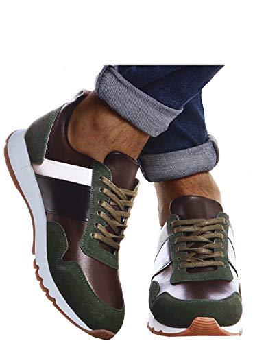 Leif Nelson Herren Schuhe für Freizeit Sport Freizeitschuhe Männer weiße Sneaker Sommer Coole Elegante Sommerschuhe Sportschuhe Weiße Schuhe für Jungen Winterschuhe Halbschuhe LN721X; 42, Khaki