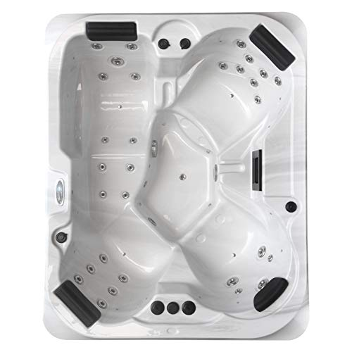 perfect-spa Whirlpool Atlanta Indoor/Outdoor 4 Personen Whirlpools Aussenwhirlpool Hot Tub Spa Außenwhirlpool Balboa Steuerung (Wanne SkyWhite, Außenverkleidung Schwarz)