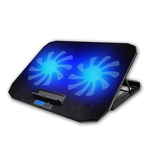 SNSN Almohadilla De Enfriamiento Computadora Portátil, Enfriador Laptop Juego De 10 A 17 Pulgadas, 2 Ventiladores Tranquilos Y Pantalla LCD, Ajuste De 5 Alturas, Alimentado por USB