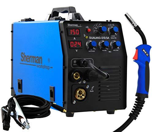 Sherman Dualmig 210 S4 MIG/MAG Soldador Inverter 200 Amp Malla de soldadura sin gas