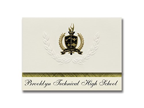 Signature Announcements Brooklyn Technical High School (Brooklyn, NY) Graduation Announcements, Presidential style, Basic package of 25 with Gold & Black Metallic Foil seal