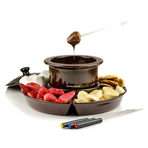Ovente Electric Fondue 1 Liter Melting Pot and Warmer Set with Lid, Ceramic Removable Food Tray, 4 Color Dipping Forks, Perfect for Chocolate, Caramel, Cheese and More, Brown (CFC317BR)