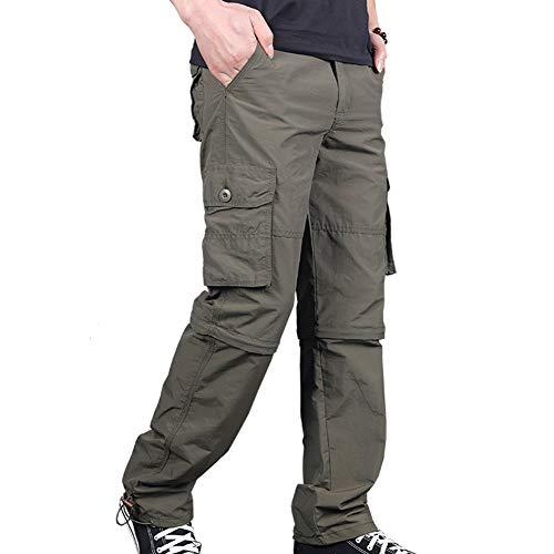 wei Hombres Aire Libre Convertible Excursionismo Pantalones Ligero Zip Off Pantalones Cortos Rápido Seco Pescar Alpinismo Viaje Carpintero Pantalones para Todos los Días Vestir,Verde,S