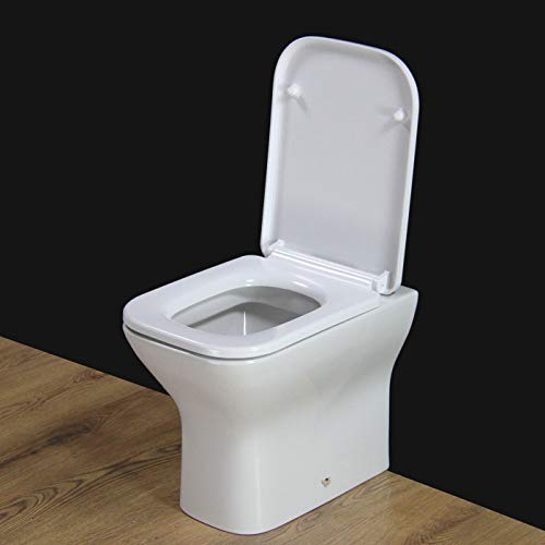 KLARA Toilet WC Back To Wall Square Bathroom Soft Closing Seat 400 mm H