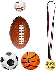 STOBOK 4 Piezas Pelotas Deportivas para Niños Juguete Medalla de Oro Niños PU Baloncesto Fútbol Rugby Béisbol Juguete Ejercicio Al Aire Libre Niño Juguete Deportivo