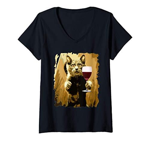 Donna Degustazione di vino gatto Amante del vino da bere Maglietta con Collo a V