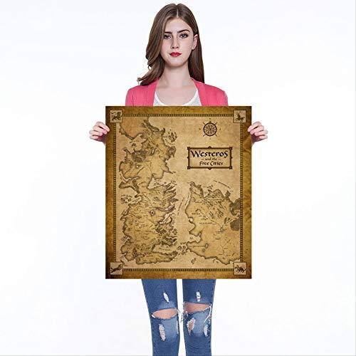 Game of Thrones Westeros en de gratis steden kaart Kraft Paper Poster Bar Cafe Home Decor Schilderen Muursticker