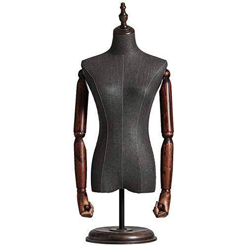 ZAQI Maniqui Costura Modista Busto Maniquí Femenino de Sobremesa, Maniquí del Torso Superior de Altura Ajustable con Brazos/Soporte de Madera, para Vestidos Que Hacen Camisetas de Prendas de Vestir