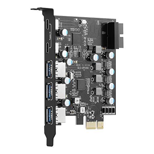 ULANSEN PCI-E a tipo C (2), tipo A (3) USB 3.0 5 puertos PCI Express tarjeta de expansión con conector interno USB 3.0 de 19 pines para PC de escritorio para Windows Mac Pro Linux (UP5100)