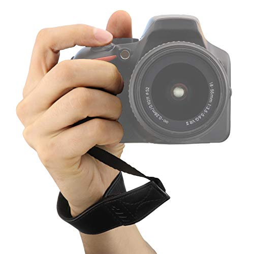 MegaGear MG1410 Leather Hand Strap for All Cameras Black