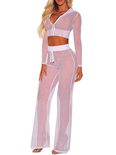 Women's Swimsuits Cover ups Beach Bikini Sets Sexy Mesh Crop Top Hoodie Long Pants 2 Piece Outfits