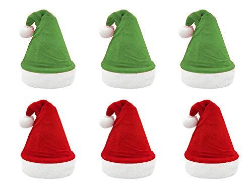 Pack 6 Gorro Papá Noel de Navidad de Santa Claus de Terciopelo de Felpe Suave Sombreros Navideño de Invierno para Fiesta Festiva de Año Nuevo para Adultos y Niños Unisex (Mixto)