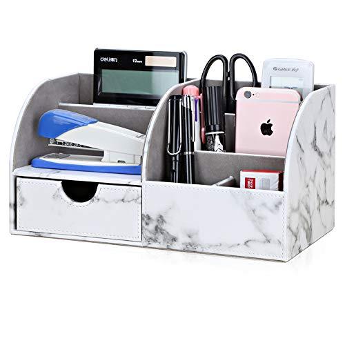 GORESE Multifunktionale Schreibtisch Organizer Aufbewahrung (White Marble)