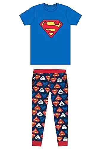Herren Erwachsene Neuheit Batman Spiderman Superman Avengers Jurassic Park Harry Potter Schlafanzüge Pyjama Pj-Satz Kostüm - GR. S-XL - Superman - Logo Blau, S