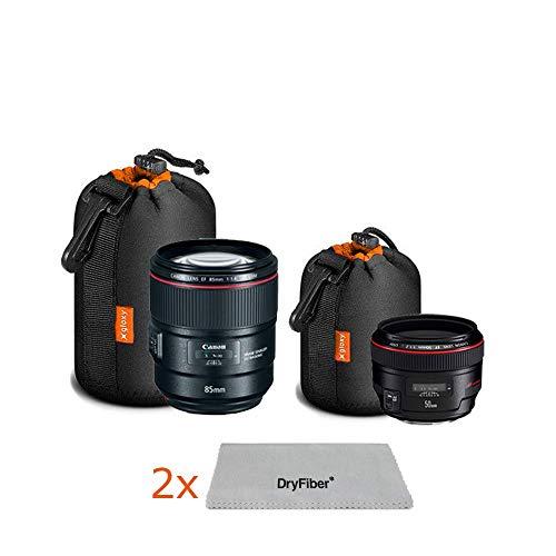 Gloxy Funda para Objetivo fotografico S + M Bolsillo Funda cilíndrica Bolsa Protectora con cordón, Interior Naranja para Objetivos réflex Digitales