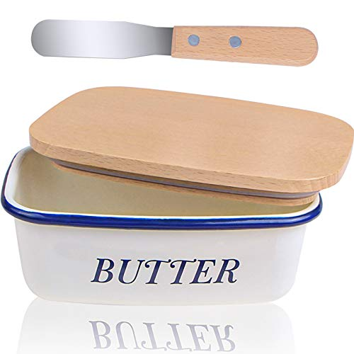 Webake Enamel Butter Dish, Airtight Butter Keeper Container with Wooden Lids and Steel Butter Knife, White Body with Blue Rim Enamelware Perfect for East West Coast Butter