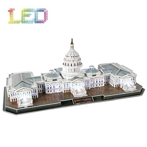 3D Puzzle LED U.S. Capitol Washington Architecture Model Kits 3D Puzzles for Adults for 10 11 12 Year Old Girl Boy Birthday Gifts for Friends Women Men Building Puzzles, 150 Pieces