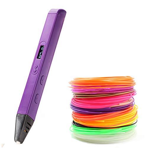 Bolígrafo de impresión 3D, con pantalla OLED Bolígrafo de dibujo 3D profesional Relleno de filamento PLA, bolígrafo de impresora de dibujo 3D de regalo para niños Artista adulto, velocidad continua