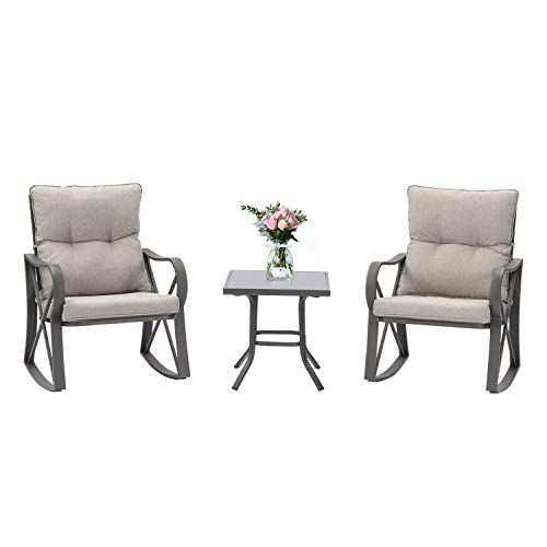 Outdoor Furniture 3-Piece Rocking Chair Set w Warm Gray Cushion, Tempered Glass Table - Elegant Patio Frame Bistro Chair for Backyard