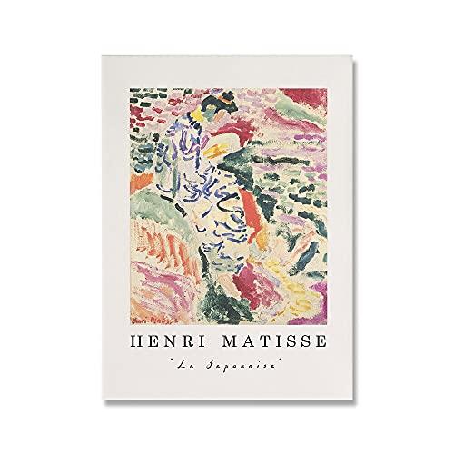 Henry Matisse carteles e impresiones retro rosas, pinturas de arte de pared de paisaje abstracto, pinturas de lienzo de decoración para el hogar A1 20x30cm