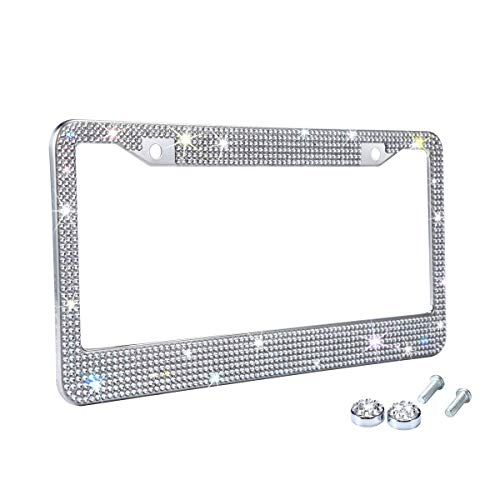 Tzarrot White Rhinestone Bling License Plate Frame for Women, Metal Rust-Proof Car Plate Frame Cute Bling Car Accessories for Women Girls (1)