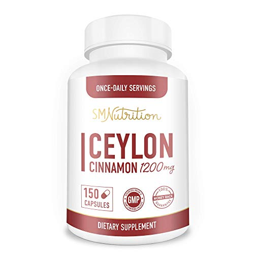 Organic Ceylon Cinnamon Supplement 1200mg (150 Capsules) Healthy Blood Sugar Support, Joint Support, Anti-inflammatory & Antioxidant* - True Sri Lanka Cinnamon Powder- Non-GMO, Gluten-Free