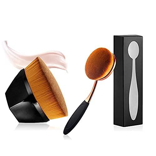 Une grande brosse à dents ovale pour fond de teint et un pinceau hexagonal à tête plate pour fond de teint