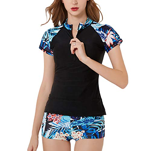 SWSMCLT Women's Two Piece Tankini Floral Print Zipper Front, Black, Size 6.0