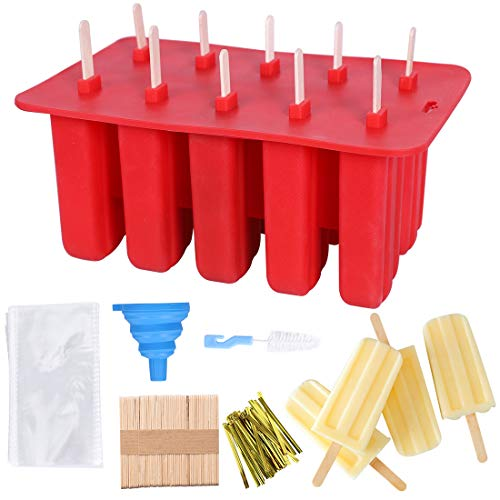 Popsicle Molds 10 Cavities Silicone Ice Pop Mold with Lid Release Ice Pop Maker for DIY Frozen Ice Cream with 50 Popsicle Sticks 50 Popsicle Bags 1 Funnel Red
