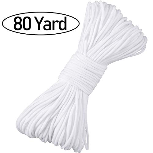 Elastic Strap White Earloop Cord Ear Tie Rope 1/8 Inch Elastic Band Stretch Cord for Sewing DIY Craft Supplies (80 Yard)