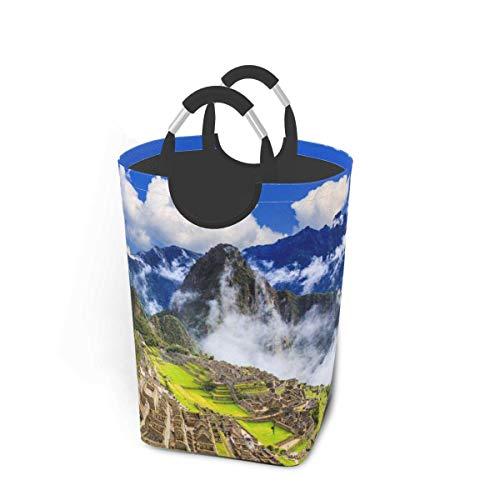 NA Machu Picchu Perú Cesto de lavandería Cesta Plegable Papelera de Lavado Resistente Bolsa de lavandería universitaria con Asas para fácil Transporte