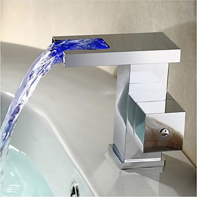 SQL Art Deco Retro moderne weit verbreiteten LED weit verbreitet mit Keramik Ventil Einhebel ein Loch für Chrome Badewanne