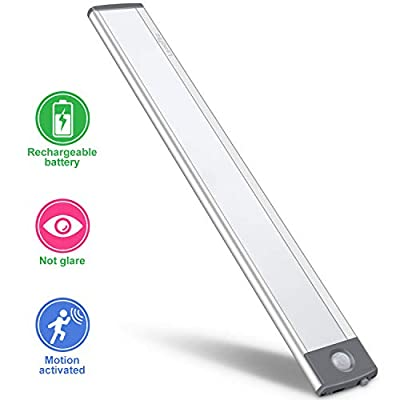 LED Motion Sensor Cabinet Light,Under Counter Closet Lighting, Wireless USB Rechargeable Kitchen Night Lights,Battery Powered Operated Light,Uniform light for Wardrobe,Closets,Cabinet,Cupboard