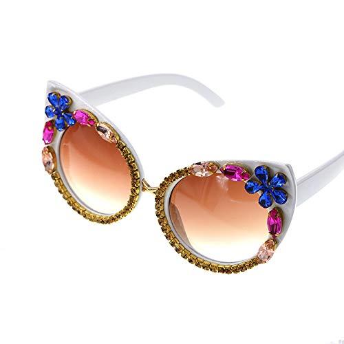 XINMAN Gafas De Sol De Moda con Tachuelas De Diamantes, Estilo Urbano, Gafas De Sol A Prueba De Viento Y A Prueba De Explosiones, Gafas De Sol Ojo De Gato De Moda Personalizadas