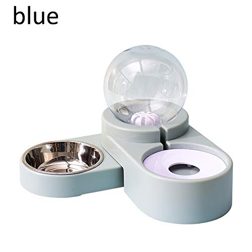 Bubble Pet Bowls Food Automatic Feeder Brunnen Wasser trinken zwei große Schüssel Fütterungsbehälter für Hundekätzchen Katze liefert Hundefutter, Haustier Trinkbrunnen (Blue)