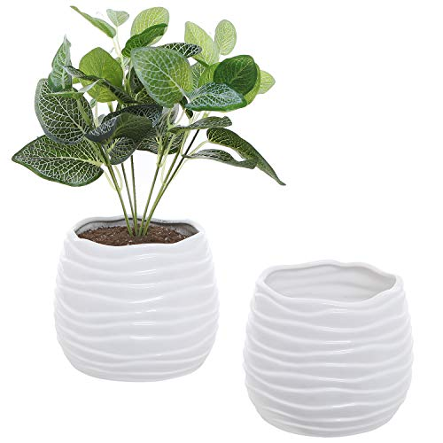 MyGift 6-Inch White Ceramic Wavy Design Plant Container Pots, Set of 2